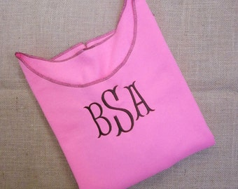 Monogram Sweatshirt Neon Pink Upcycle Open Neck Redesigned 80's Style Off Shoulder Bridesmaids Custom Made S/M/L/XL by Buttercup Embroidery