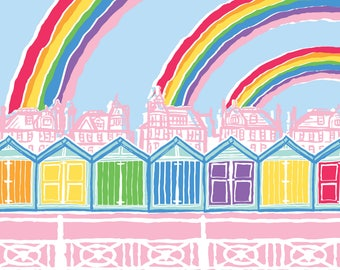 Hove Beach Huts Rainbows - Brighton & Hove vibrant giclée art print for the Brighton lover, made with bright pride rainbow colours