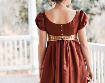 Regency Dress, Ball Gown, and Formal Ball Gown, Rust Red, Vintage Saree, Misses 4
