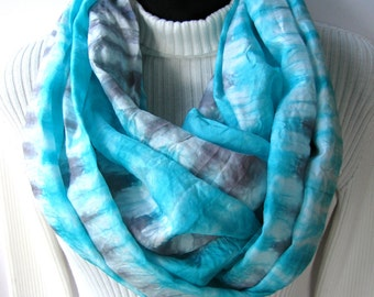 Bright Aqua - Hand Dyed Silk Infinity scarf for Women or Men Unique Handmade gift for her  Scarves Cowl Scarf grey and aqua striped scarf