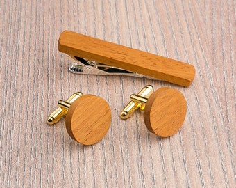 Wooden tie Clip Cufflinks Set Wedding Yellow Round Cufflinks. Wood Tie Clip Cufflinks Set. Personalization gift , Groomsmen Cufflinks set.