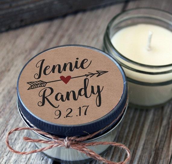 Set of 8 - 4 oz Kraft Wedding Favor - Candle Favors // Kraft Wedding Candle // Kraft Favor Candle