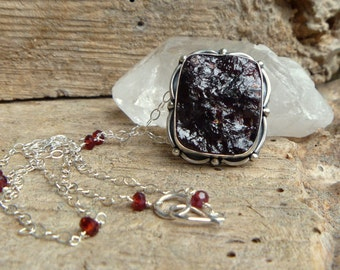 "rough Garnet and sterling silver necklace // 18"" chain // garnet jewelry // metaphysical"