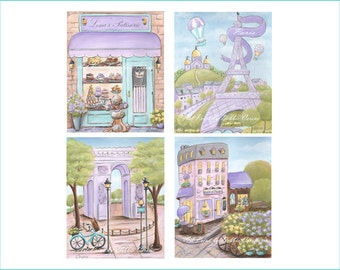 """Purple Paris Art Prints For Girl Baby Nursery Decor, Set Of 4, Personalized Dreamy Parisian Bedroom Wall Art Posters, 6 Sizes-5x7"""" to 24x36"""""""