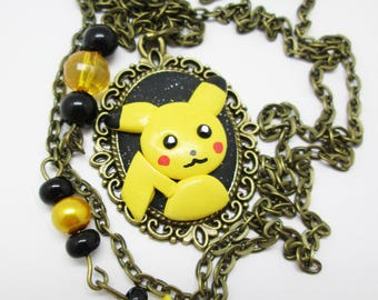 Pikachu polymer clay Cabochon necklace