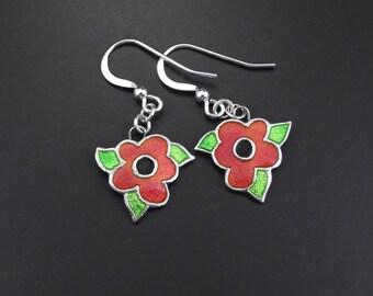 Silver and Enamel Red Flower Earrings. Poppies. Handmade. Sterling Silver Ear Wires