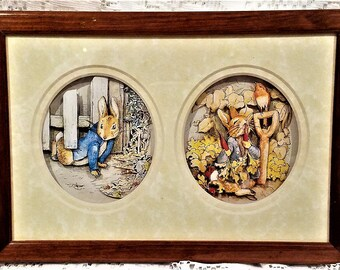 John Ellam Decoupage Art, Double Print, 3D Art, Peter Cottontail, Beatrix Potter, 1991, Nursery Decor, Baby Shower