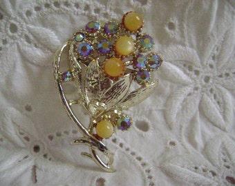 Vintage Brooch Mid Century, Costume Jewelry, Blue Rhinestone & Faux Pearl Brooch