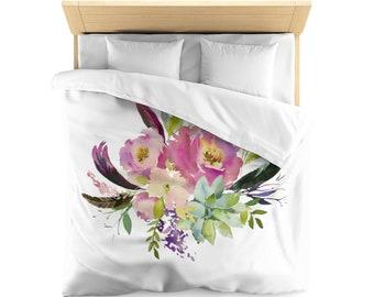 Microfiber Duvet Cover, Floral Pastel Design