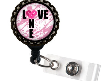 One Love - Pink and Black Retractable Badge Reel ID Holder