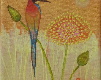 Original Acrylic Bee Bird Painting 6 by 6 on stretched canvas