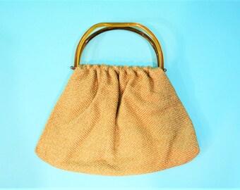 1970s woven bag | boho plastic top handle tan gold handbag | vintage 70s bag