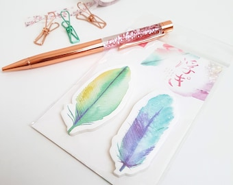 Pretty Watercolour Feather Sticky Notes - Green and Blue