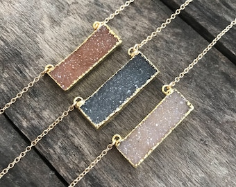 Druzy Necklace, Drusy Necklace, Druzy Bar Necklace, Druzy Quartz Jewelry, Drusy Necklace, Layering Necklace, Gold Necklace