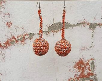 Crochet orange silver earrings