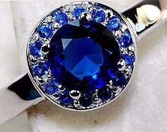 Exquisite 1CT Australian Blue Sapphire Solitaire Surrounded by White Topaz 925 Genuine Solid  Sterling Silver Ring Sz 7