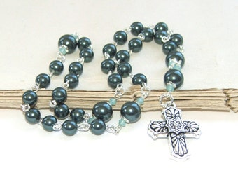 Anglican Rosary Beads, Tahitian Blue Swarovski® Pearl Christian Prayer Beads, Talavera Cross