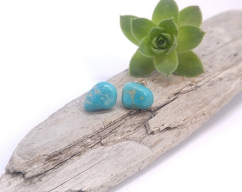 Natural Turquoise stone studs, Turquoise stud earrings, Hand carved Turquoise studs, Turquoise stud earrings, Natural stone studs, Turquoise