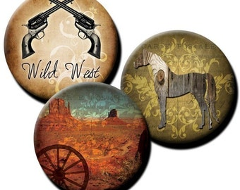 Western Theme collage sheet - 1 inch circles - Instant Etsy Download