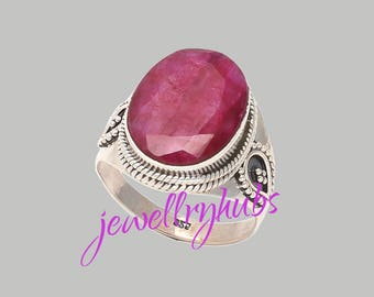 Ruby Ring, Ruby Stone Ring, Ruby Silver Ring, Gemstone Ring, Handmade Ring, Bohemian Ring, Gypsy Ring, Women Gift Ring, R24RB