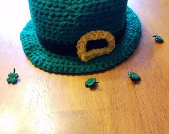 St Patrick's Day Crochet Leprechaun Bowler Hat- Leprechaun Hat- St Paddy's Day Hats