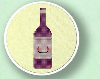 Happy Wine Bottle Cross Stitch Pattern. Modern Simple Cute Counted Cross Stitch Pattern. PDF File. Instant Download