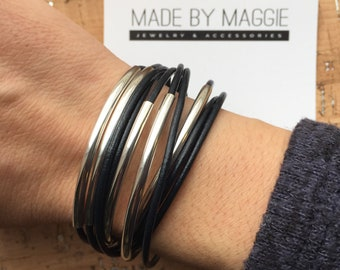 Leather Wrap Bracelet -  Navy Blue Leather Bracelet