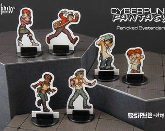 Cyberpunk-Fantasy Panicked Bystanders 28mm RPG Miniatures