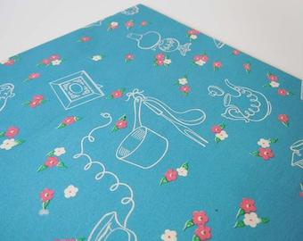 Vintage Bridal Shower Wedding Wrapping Paper   Blue Mid Century Gift Wrap Paper with Household Items