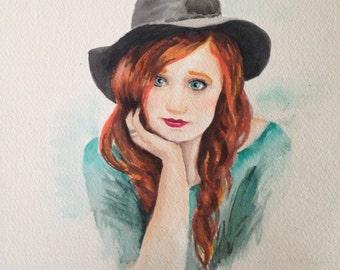 Custom Watercolor Portrait 6X9