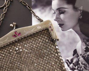 Antique Art Nouveau mesh purse. Antique handbag. German silver. Chainmail purse.