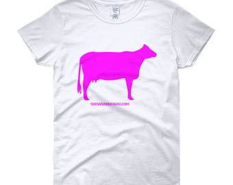 Cow Shirt, Dairy Cow (Pink) Women's short sleeve t-shirt