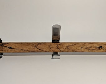 Coat Rack - 3 Polished Steel Hooks in Oak