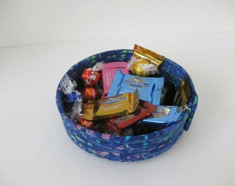 Blue Hand Coiled Fabric Bowl, Coiled Rope Basket, Batik Fabric Basket, Gift Under 20, Clothesline Wrapped Fabric Basket, Coiled Rope Bowl