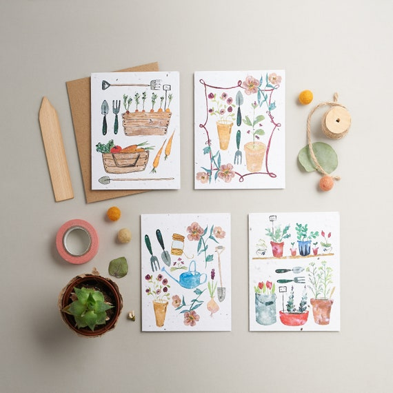 Pack of 4 seed cards - Stationery set - Thank you cards - Gardening gift - plantable paper - seed cards - gift for gardeners - gardening fun
