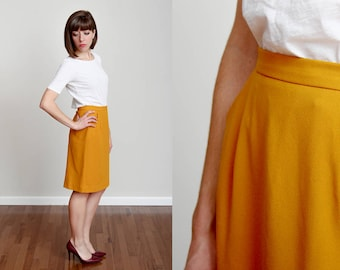 1990s Mustard Yellow Pencil Skirt with Pockets - S