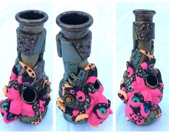 """6"""" Steampunk """"Pink Ninja"""" Octopus Vase (WP)"""