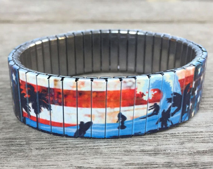 Flexible steel bracelet, Surfing in the USA, Stretch Bracelet, Repurpose Watch band, Sublimation, Stainless Steel, gift for friends