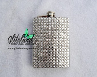 Blinged 8 oz Hip Stainless Flask Made with SWAROVSKI® Crystals