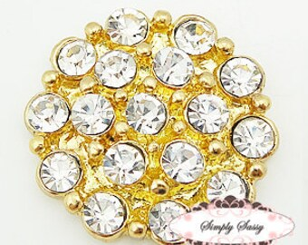 5 or 10 pc set RD130 GOLD Clear Rhinestone Metal Flat Back Embellishment Buttons flowers invitations favors bouquets accessories hair clips