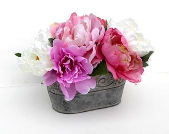 Peony arrangement, Spring table Centerpiece, Farm Home Decor, silk flower arrangement, summer flowers, wedding, gift for Mom