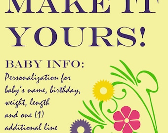 PERSONALIZATION for Birth Information on Flannel Baby Blankets / Kid Car Blankets