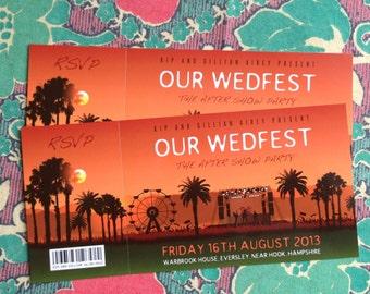 WEDFEST Festival Wedding Invitation (samples) | festival weddings | rock n roll wedding invites | concert tickets