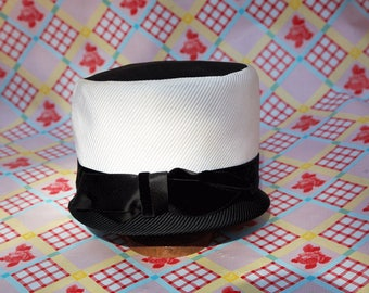 Black and White Satin Grosgrain Hat