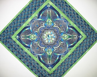 Medallion Table Topper, Wall Hanging, blues, greens, handmade, quilted fabric Kaufman and Timeless Treasures