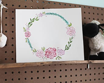 Add a name Floral Flower Rose Painting Name Wreath for Nursery or Child's Bedroom
