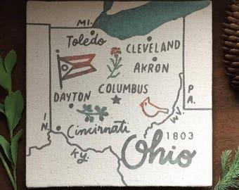 Ohio Souvenir Map 8 x 8 Canvas Screen Printed Home Decor Wall Art