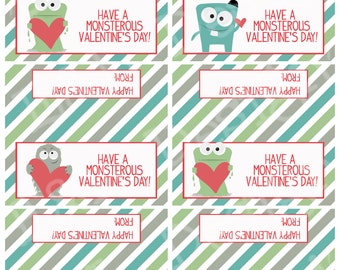 Valentine Monster Treat Bag Toppers, Valentine's Day, Printable, Instant Download, Digital