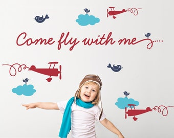 Come Fly With Me Airplane Wall Decal Baby Travel Nursery Boy Girl Kids Airplane Room Decor Sky, Clouds, Planes, Bird Wall Decals