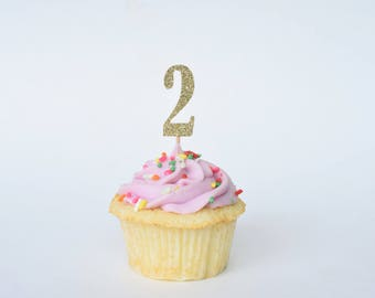 Two Cup Cake Topper...Number Cupcake Toppers...Second Birthday Cupcake Topper...Birthday Party Decor...Age Cupcake Topper...Two Year Old